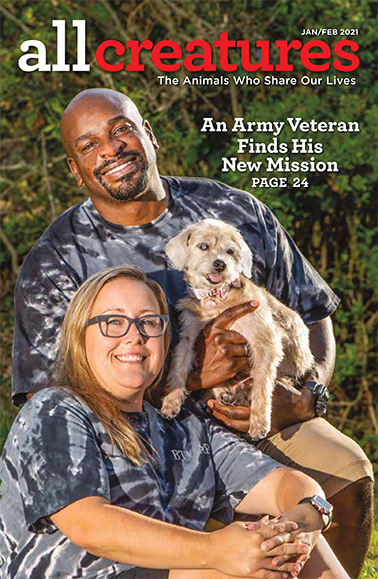 In his cover story for the January-February 2021 issue of All Creatures, former serviceman Omar Brooks shares how fostering dogs helped him overcome PTSD.