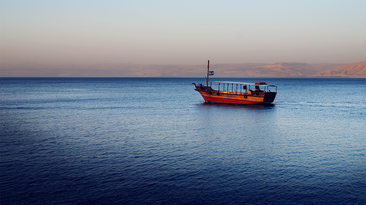 A fishing boat on the sea of Galilee