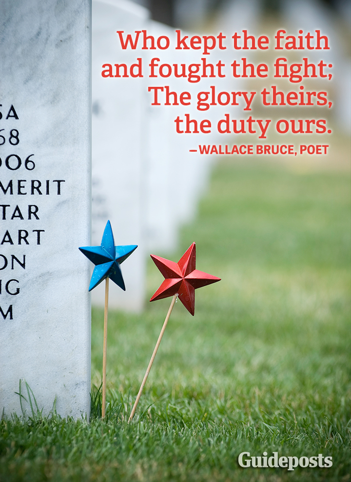 Memorial Day quote graphic Wallace Bruce sacrifice courage gratitude