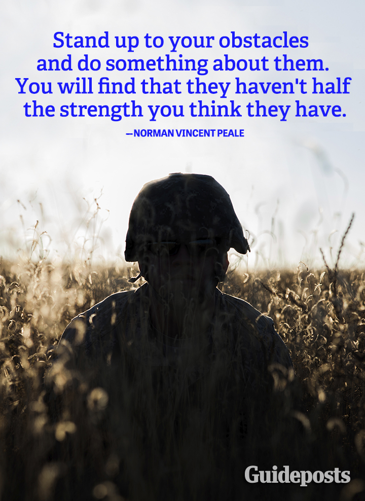 Motivation quote Norman Vincent Peale obstacles strength