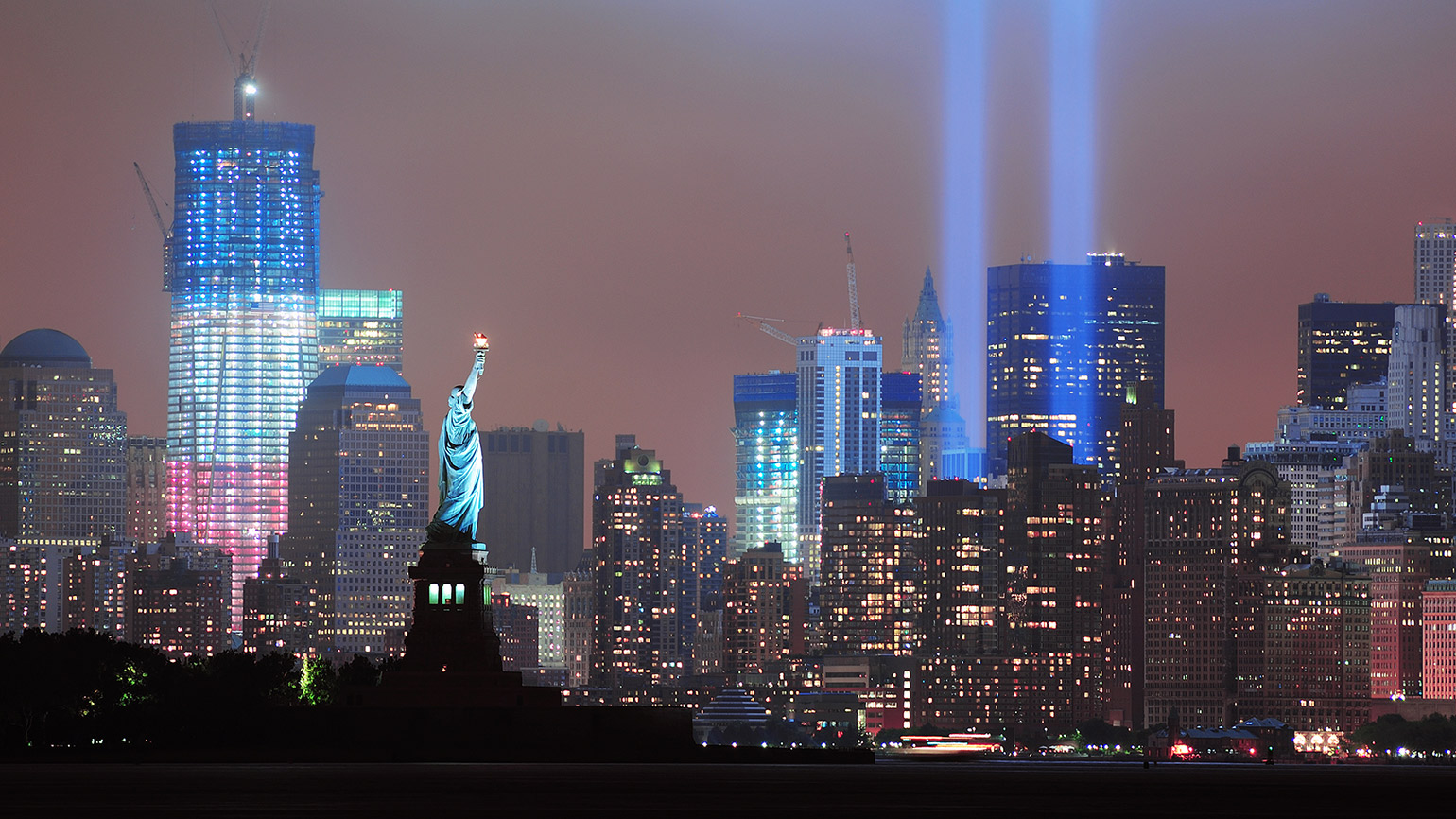 Twin light beams stream skyward in memory of those lost on 9/11