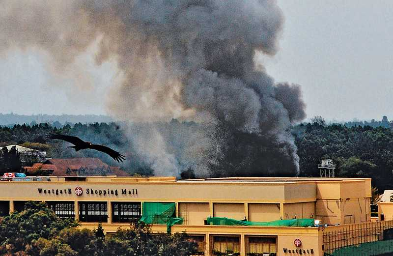 The Westgate mall is left smouldering following the terrorist attack.