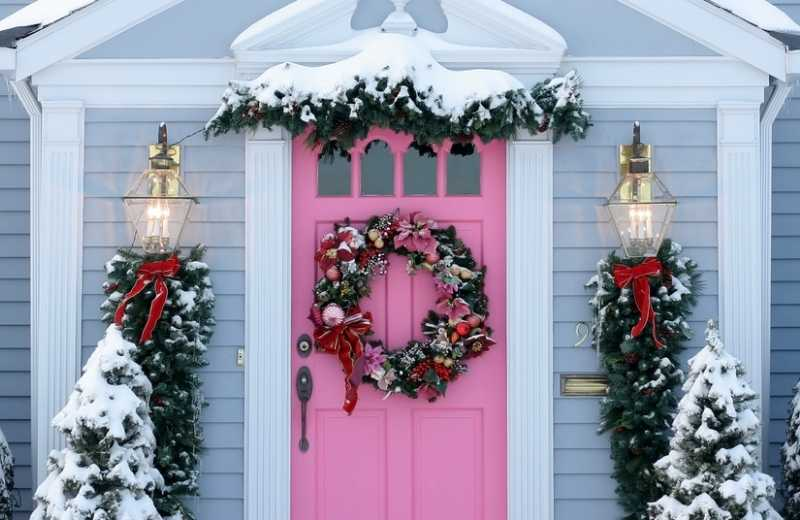 front door of a house in the winter