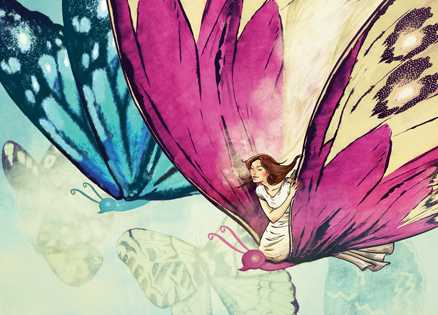 An artist's rendering of an angel on the back of a butterfly
