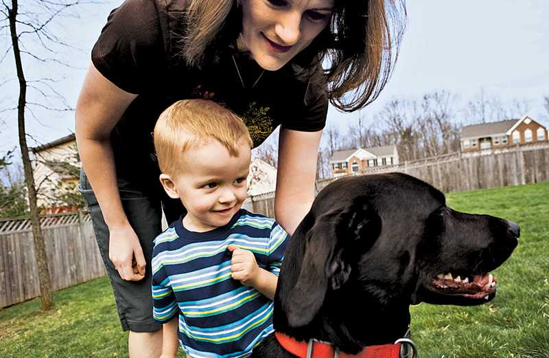Claire Guthrie, her son Michael and dog Rosie