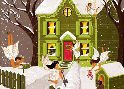 An artist's rendering of an old house being tended to by neighborly angels