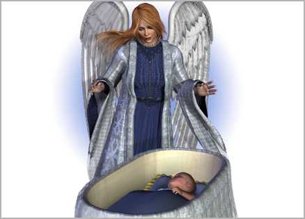 An artist's rendering of an angel watching over an infant