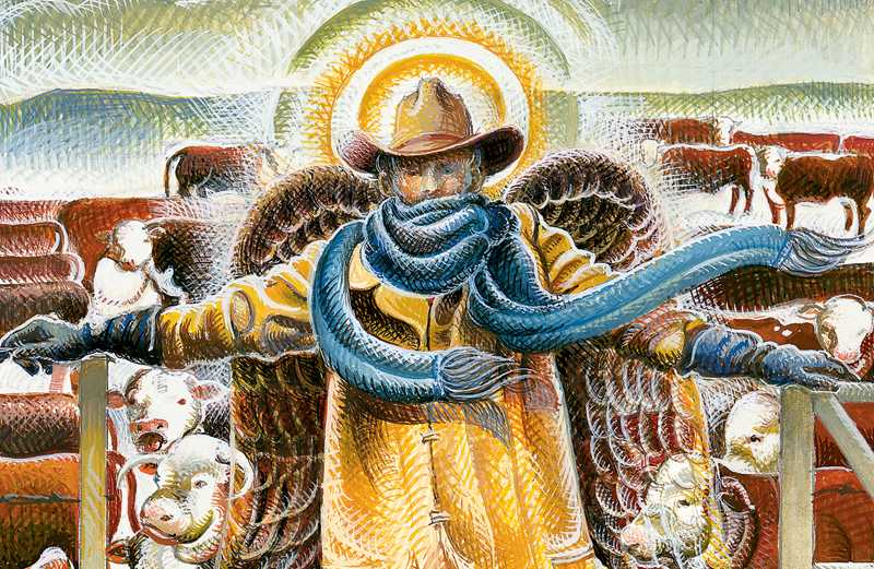 An artist's rendering of a snow angel saving some cows