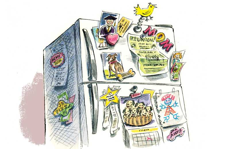 An artist's rendering of a fridge covered with recipes, pictures, etc.