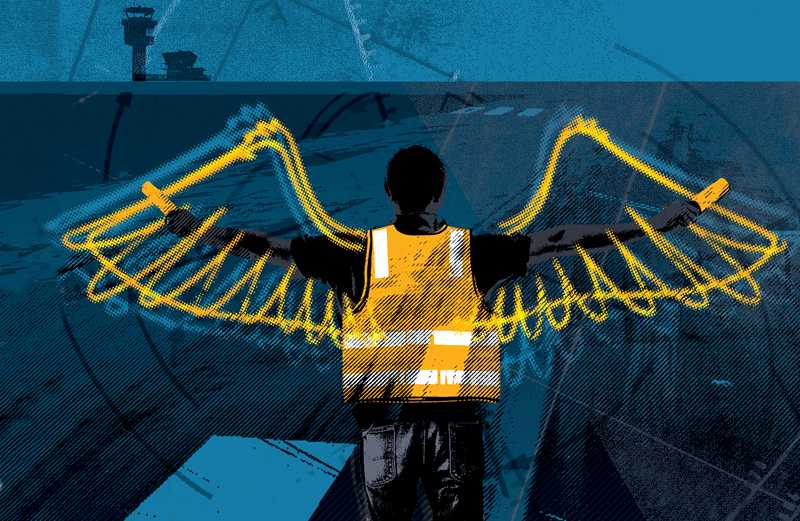 An artist's rendering of an angel working on an airport tarmac