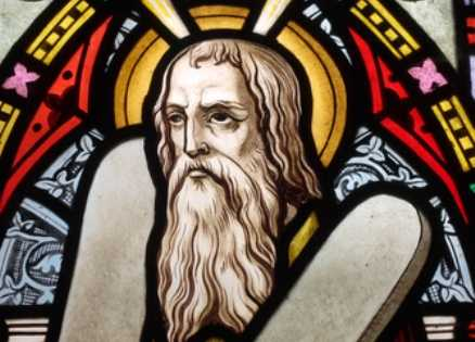 Stained glass of Moses