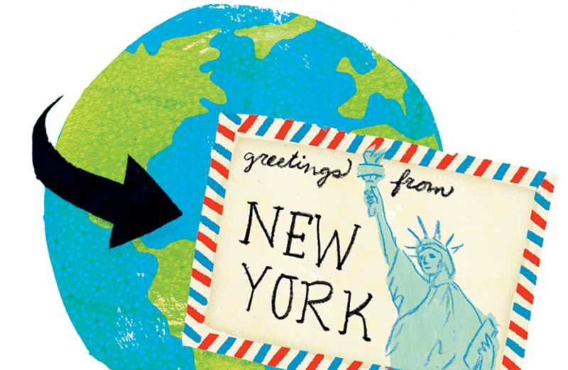 An artist's whimsical rendering of a postcard traveling around the world