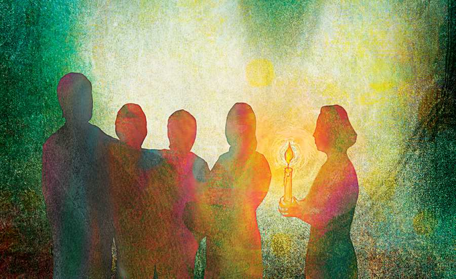 An artist's rendering of a family gathered at a candlelight service