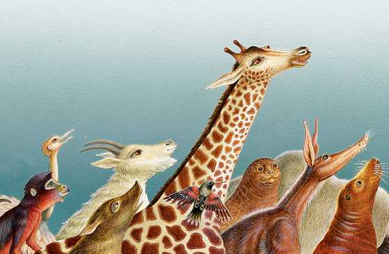 An artist's rendering of a parade of animals