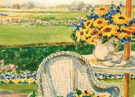 Flowers and wicker furniture on the cover of Sunflower Summer
