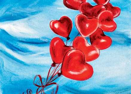 An artist's rendering of an airborne bunch of red balloons