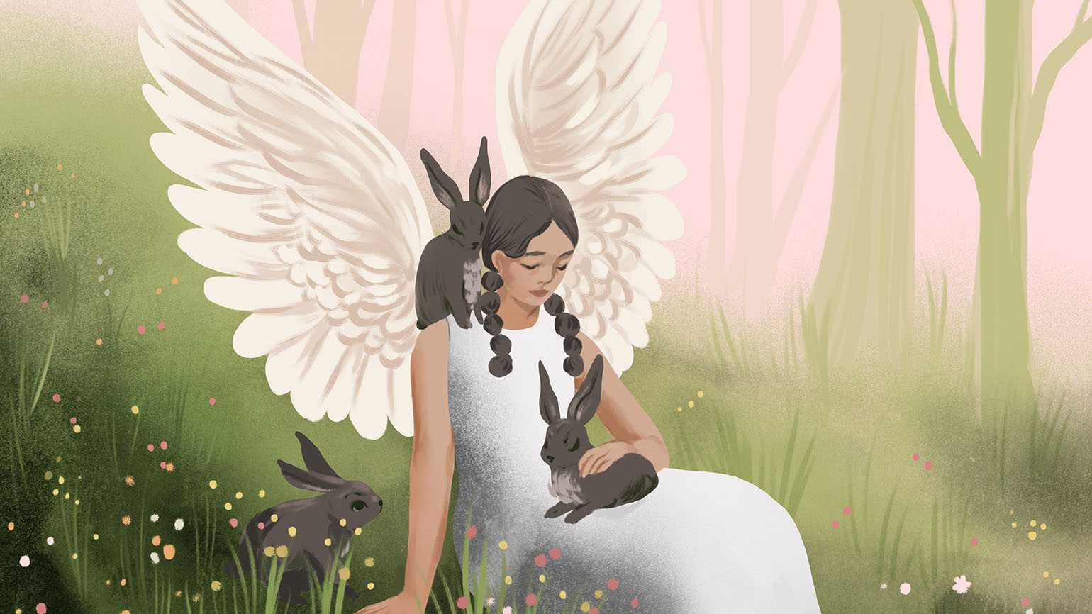 Illustration of an angel and three bunnies