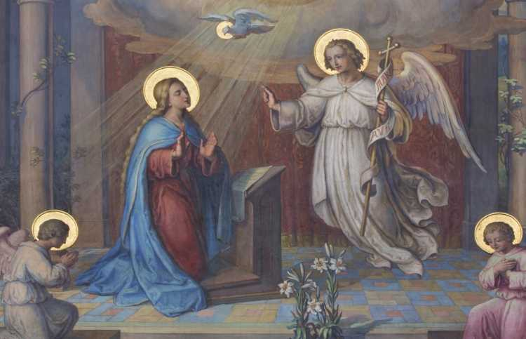 Vienna - Fresco of Annunciation in Carmelites church : Stock Photo      View similar imagesMore from this photographer  Vienna - Fresco of Annunciation in Carmelites church