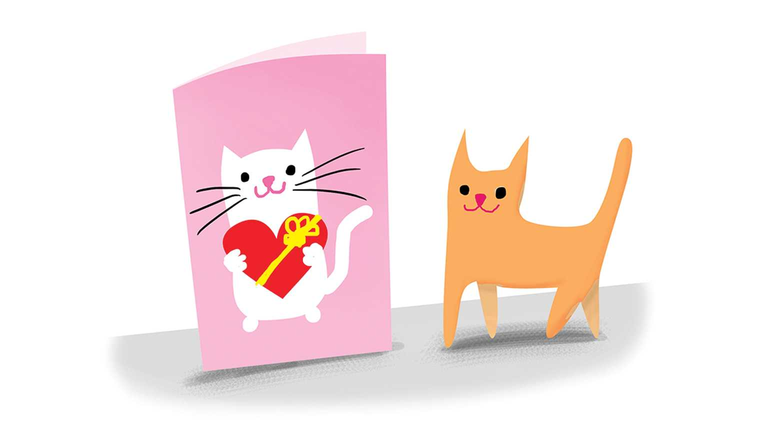A Valentine's Day card with a cat on it next to an actual feline.