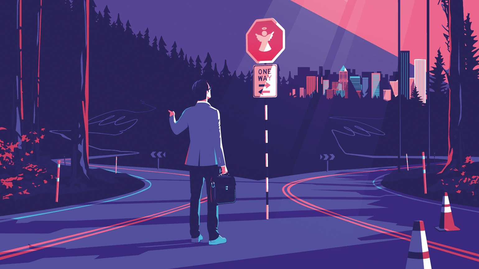 A businessman looking at a stop sign with an angel figure at a forked road.