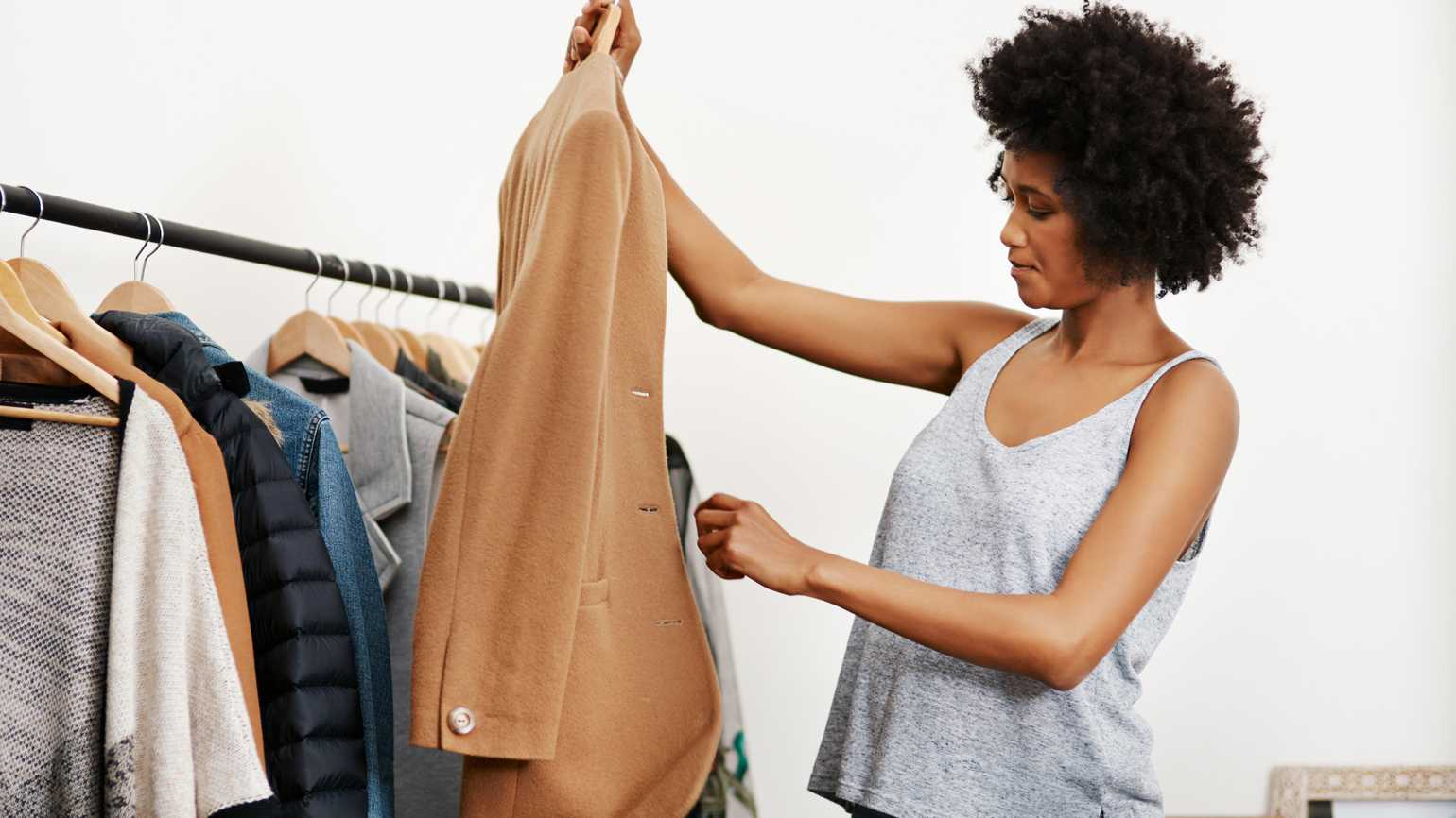 A woman preparing her work outfit.
