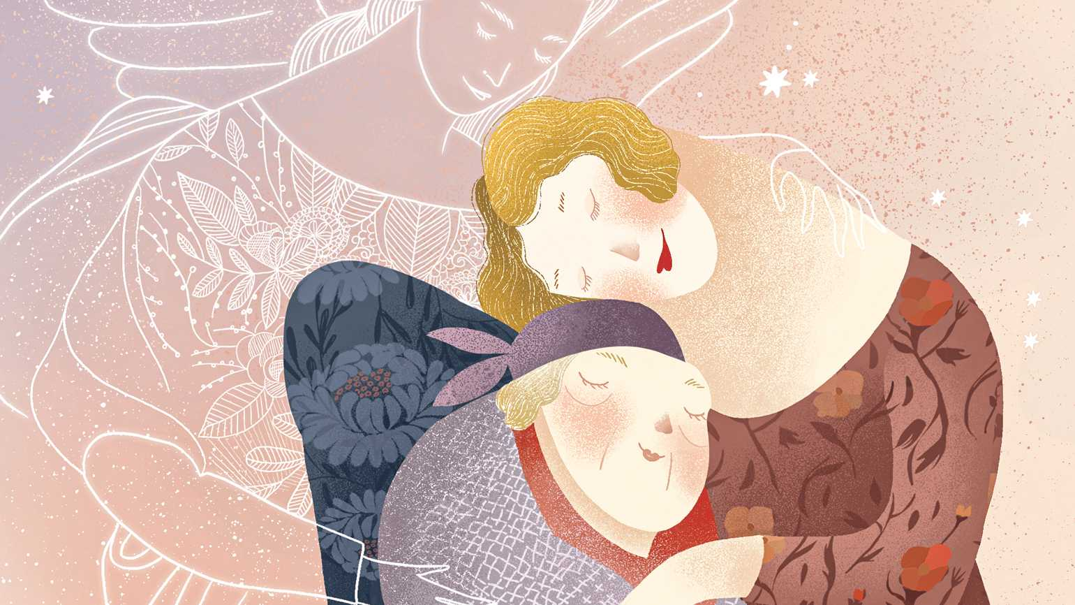 An illsutration of an angels embracing a mother and daughter; Illustration by Amalia Restrepo