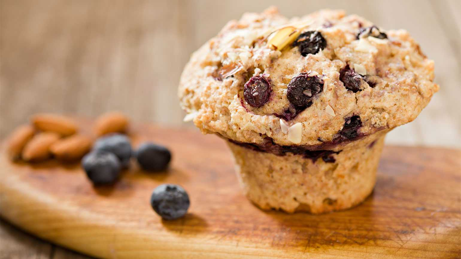 A blueberry almond muffin