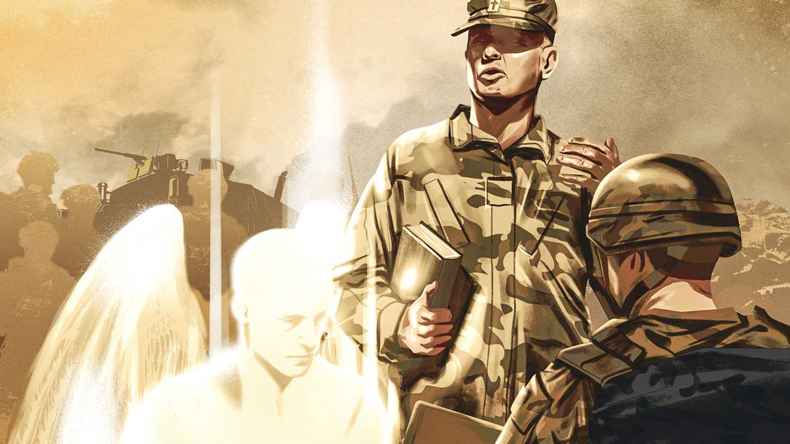 Military men in conversation with a glowing angel in their midst; Illustration by Jonathan Bartlett