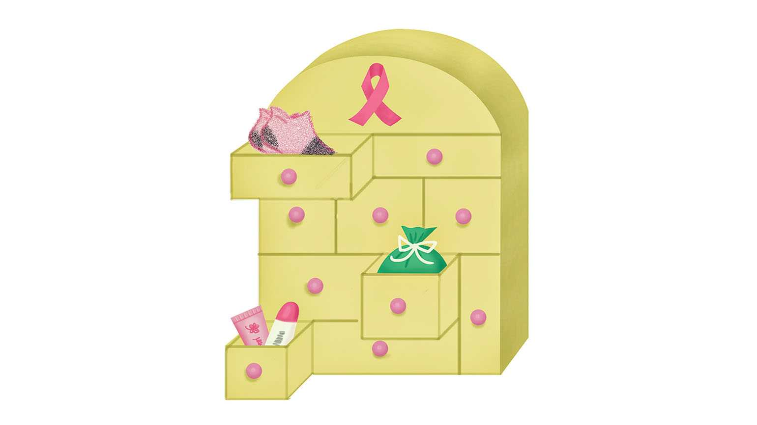 A chemo Advent box filled with care products; Illustration by Coco Masuda