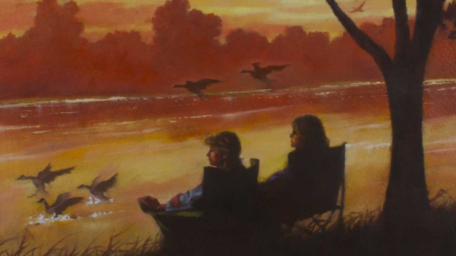 An artist's rendering of a mother and son fishing during a sunset.