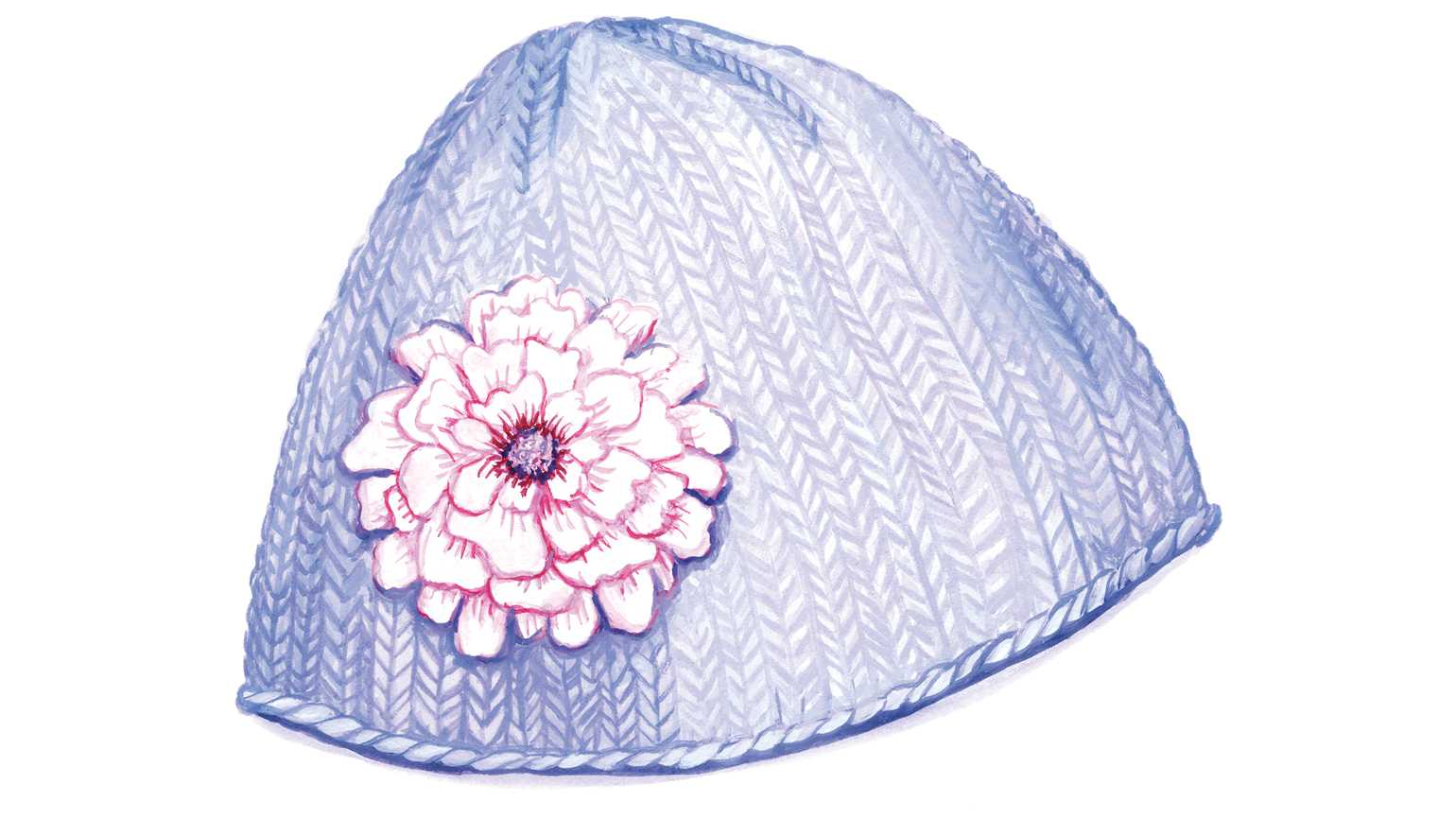 A lavender knitted hat with a large flower; Illustration by Jessica Allen