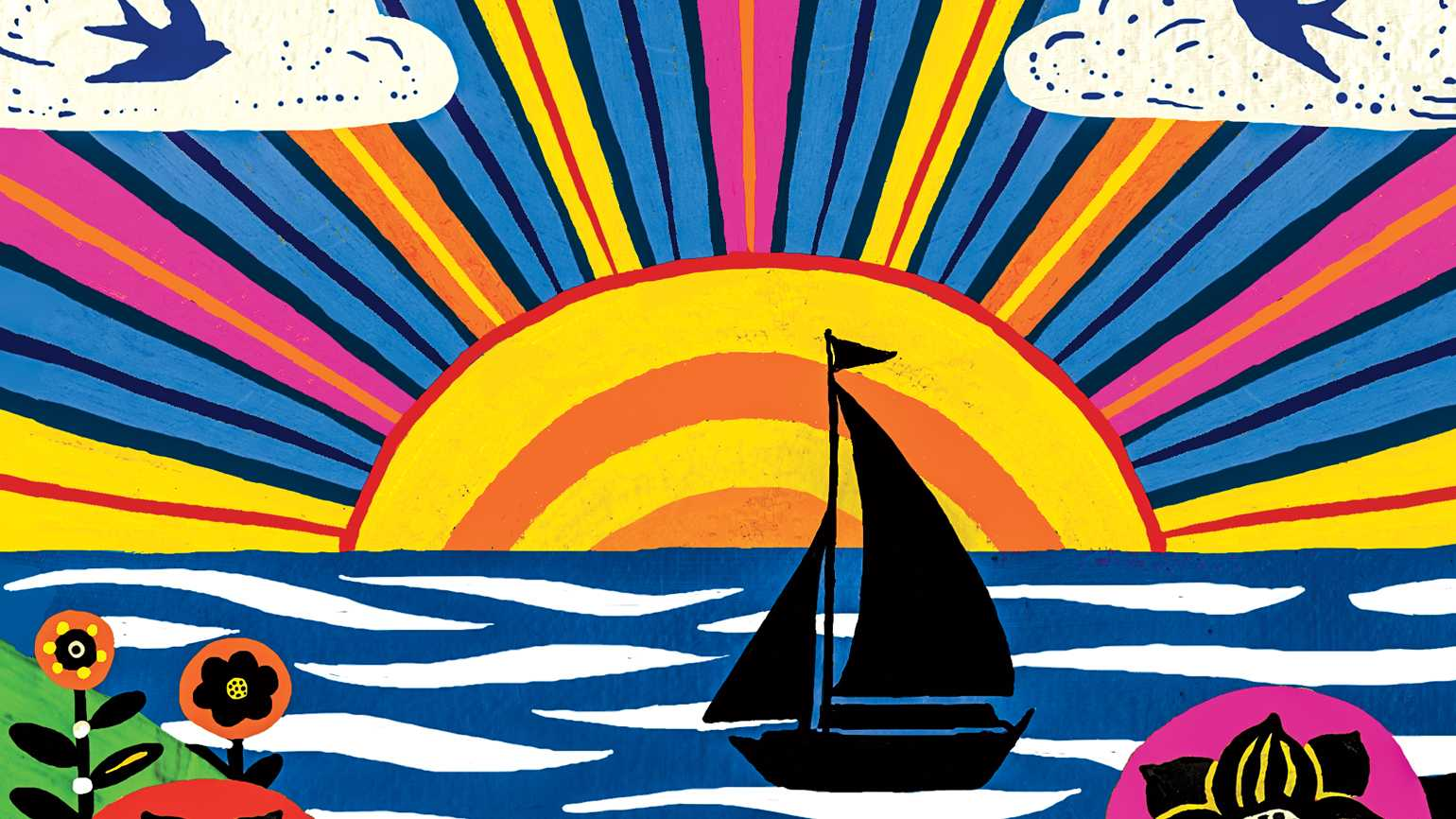 An illustration of a sailboat on the wter as the sun sets; Illustration by Gina Triplett