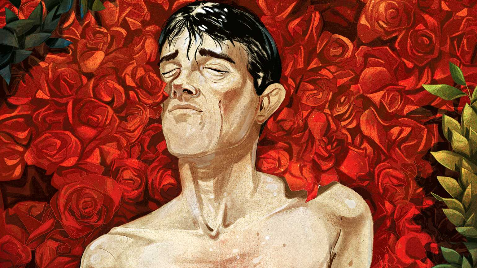 An illustration depicting a shirtless man enveloped with roses.