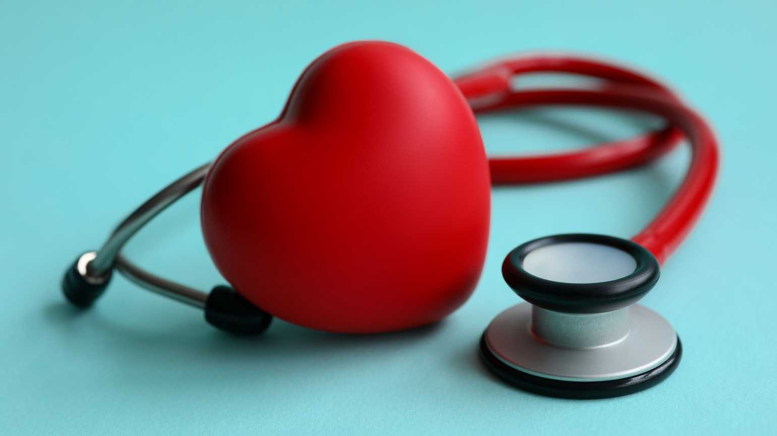 A heart with a stethoscope; Getty Images