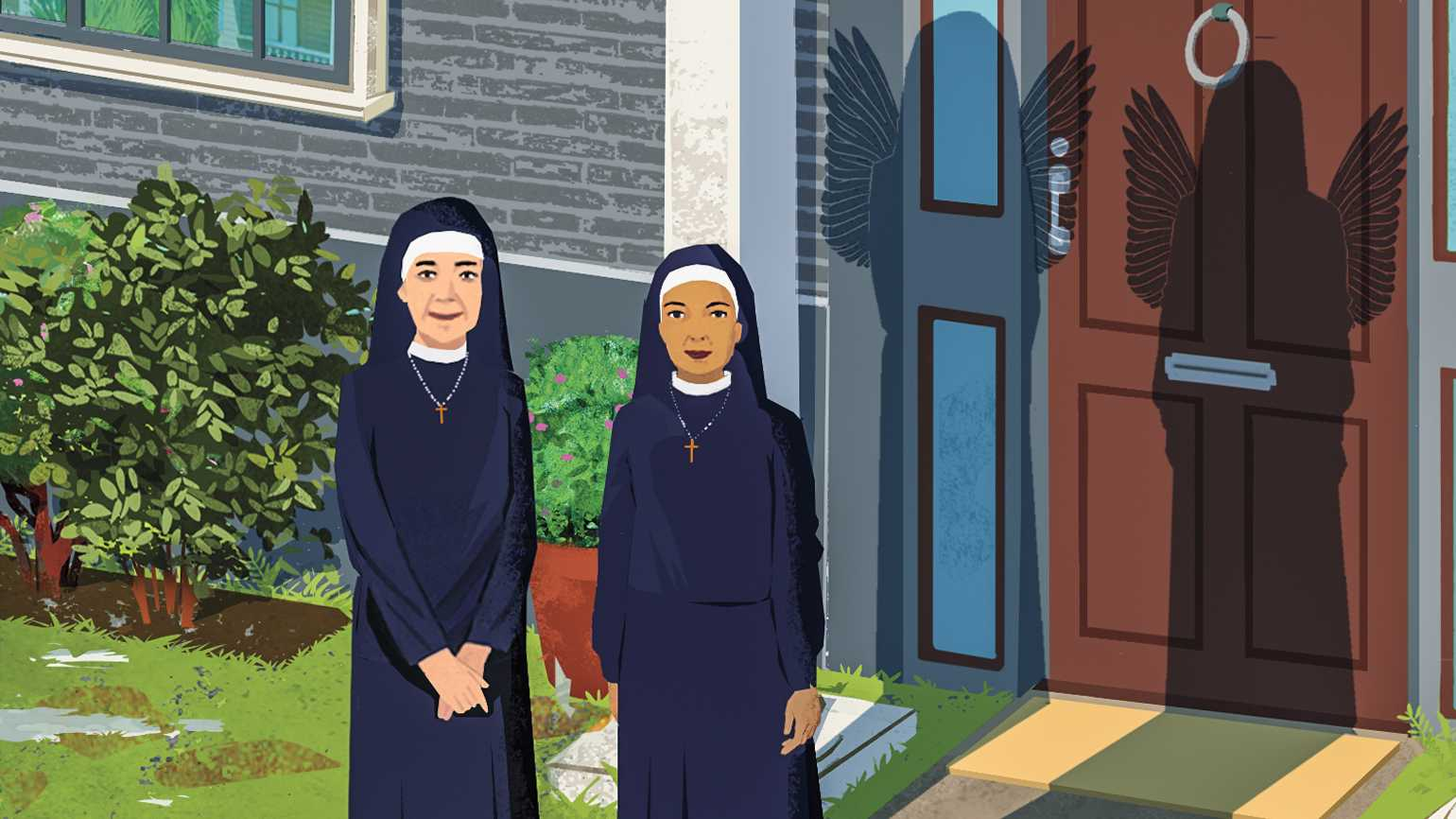 An artist's rendering of the Humility Sisters; Illustration by Eva Vasquez