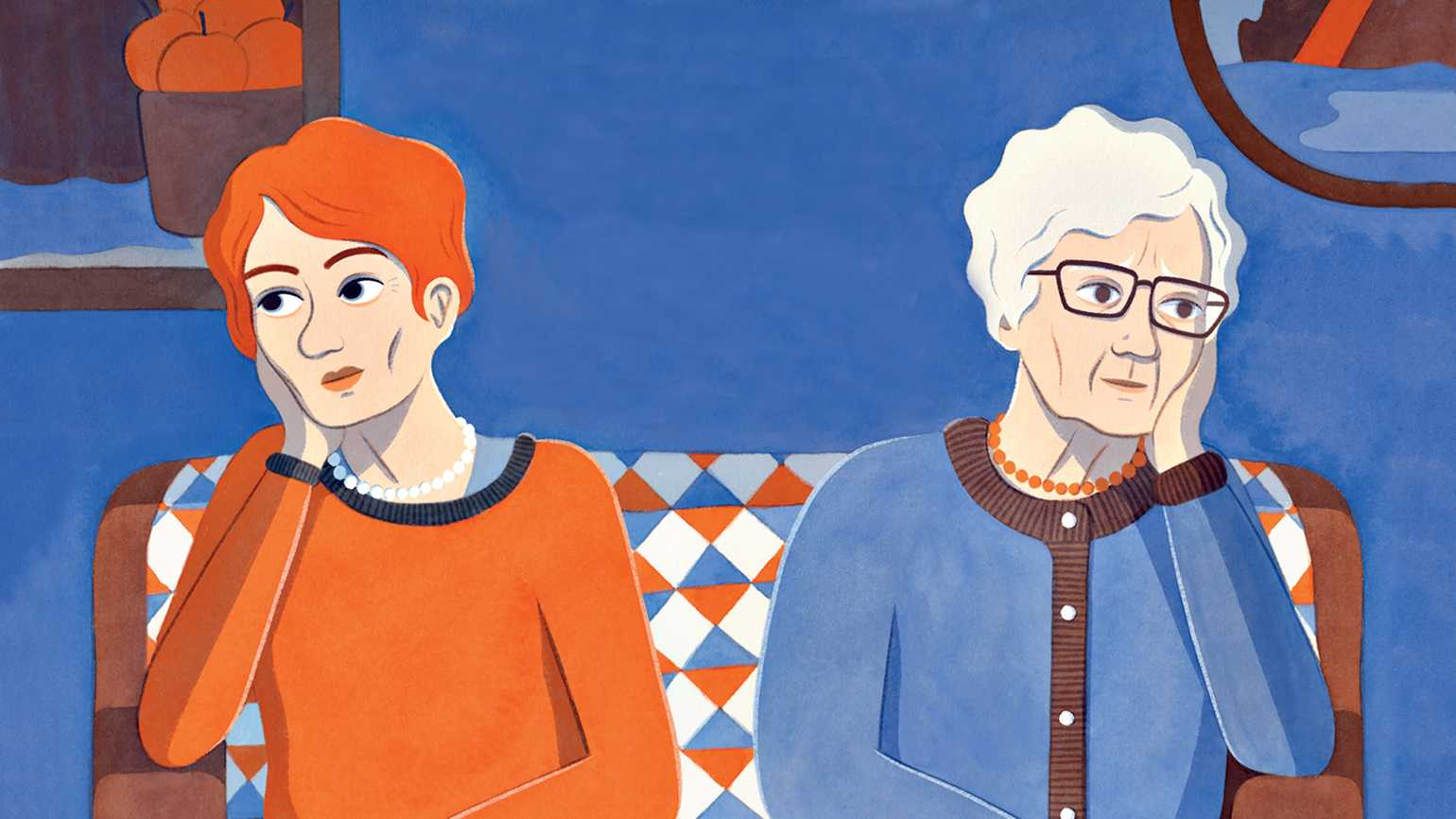An artists's rendering of Jeannette and her mother; illustration by Eleni Kalorkoti