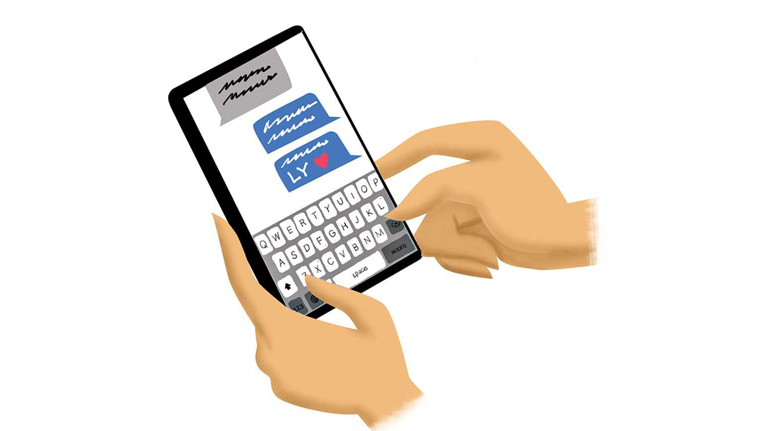 An artist's rendering of someone holding a phone and texting LY.