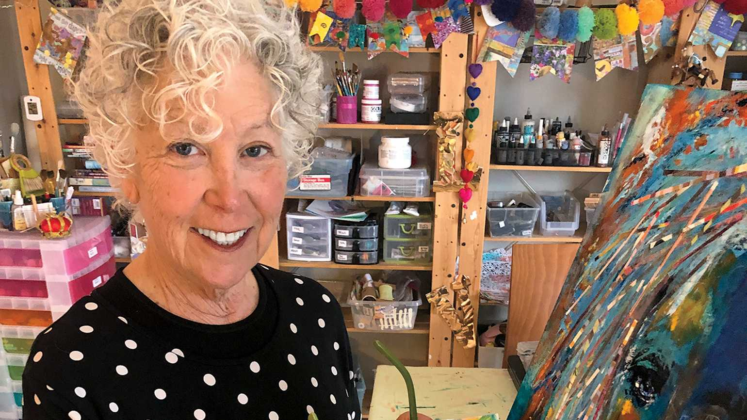 Lynn Colwell in her studio; photo by Steve Colwell