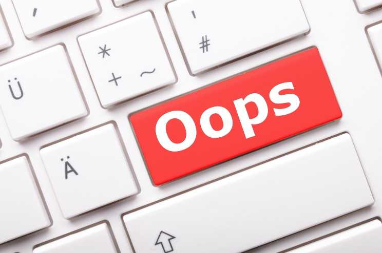 Keyboard with Oops! button signifying mistakes are part of God's Plan