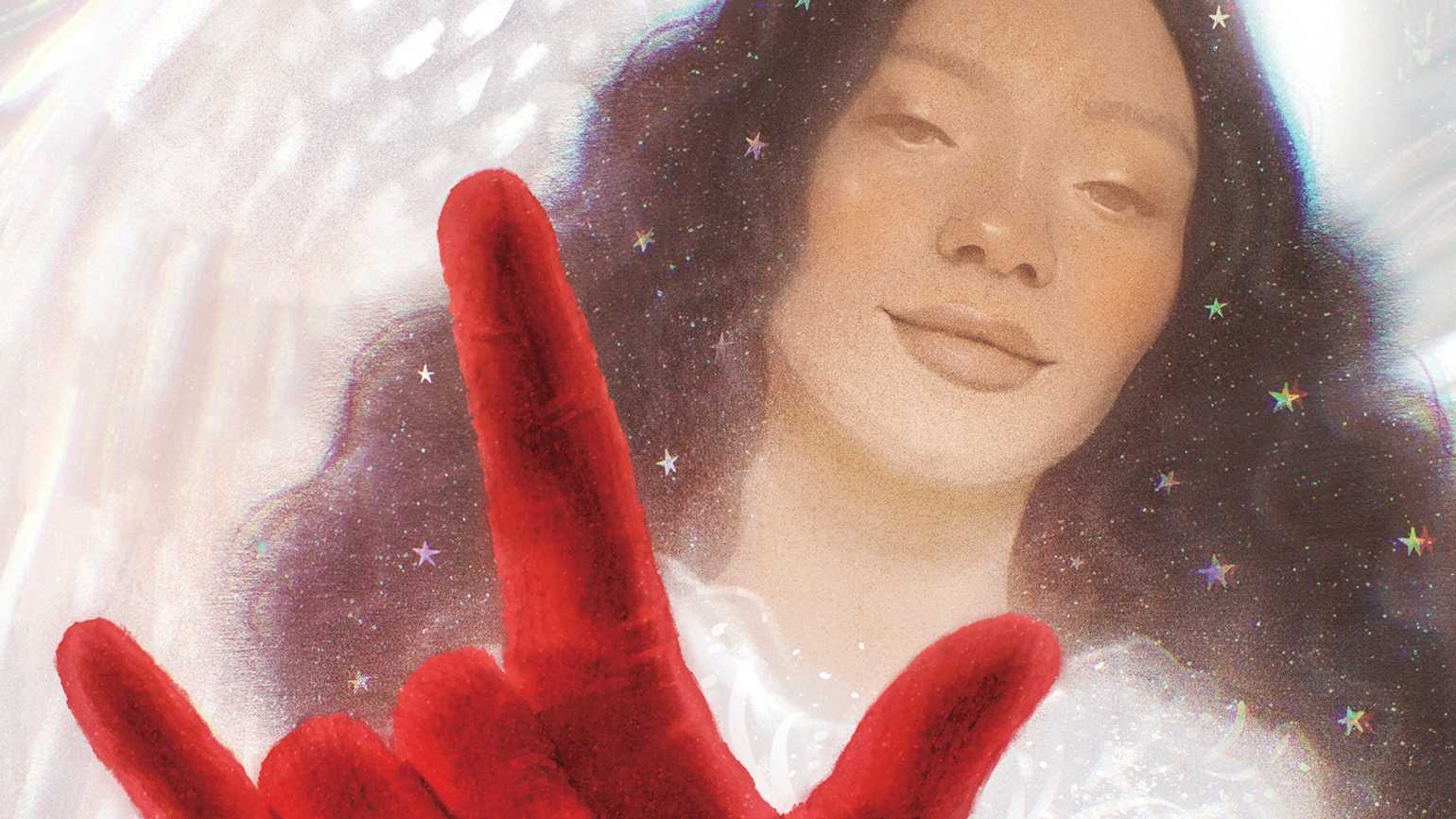 An artist's rendering of an angel with a red glove; Illustration by Victoria Borges