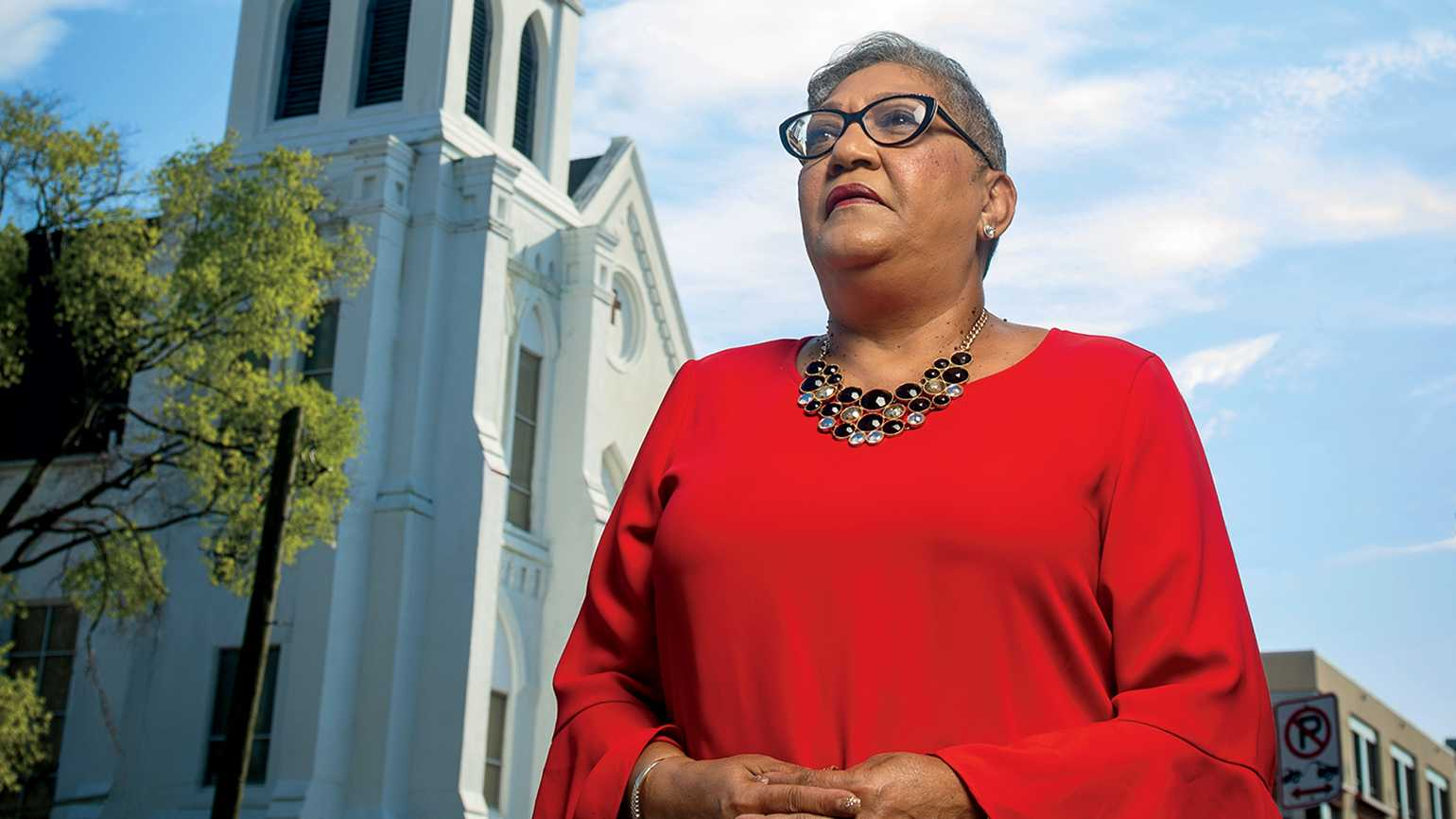 Sharon across from Emanuel AME church, where the shooting occurred