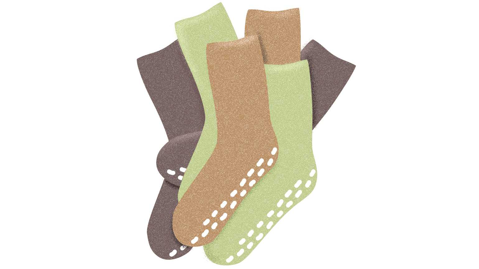 An artist's rendering of three pairs of colorful socks.