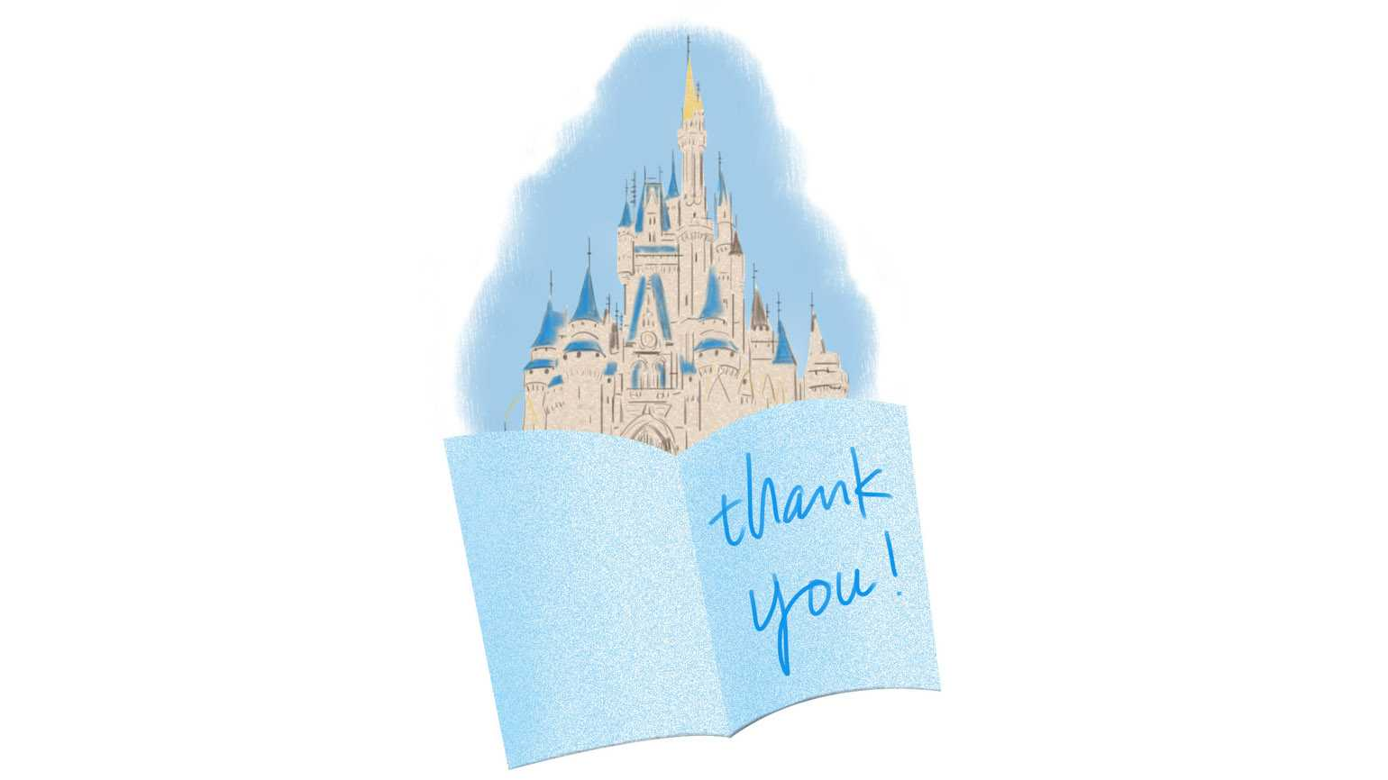An artist's rendering of a Thank You card with Walt Disney World in the background.