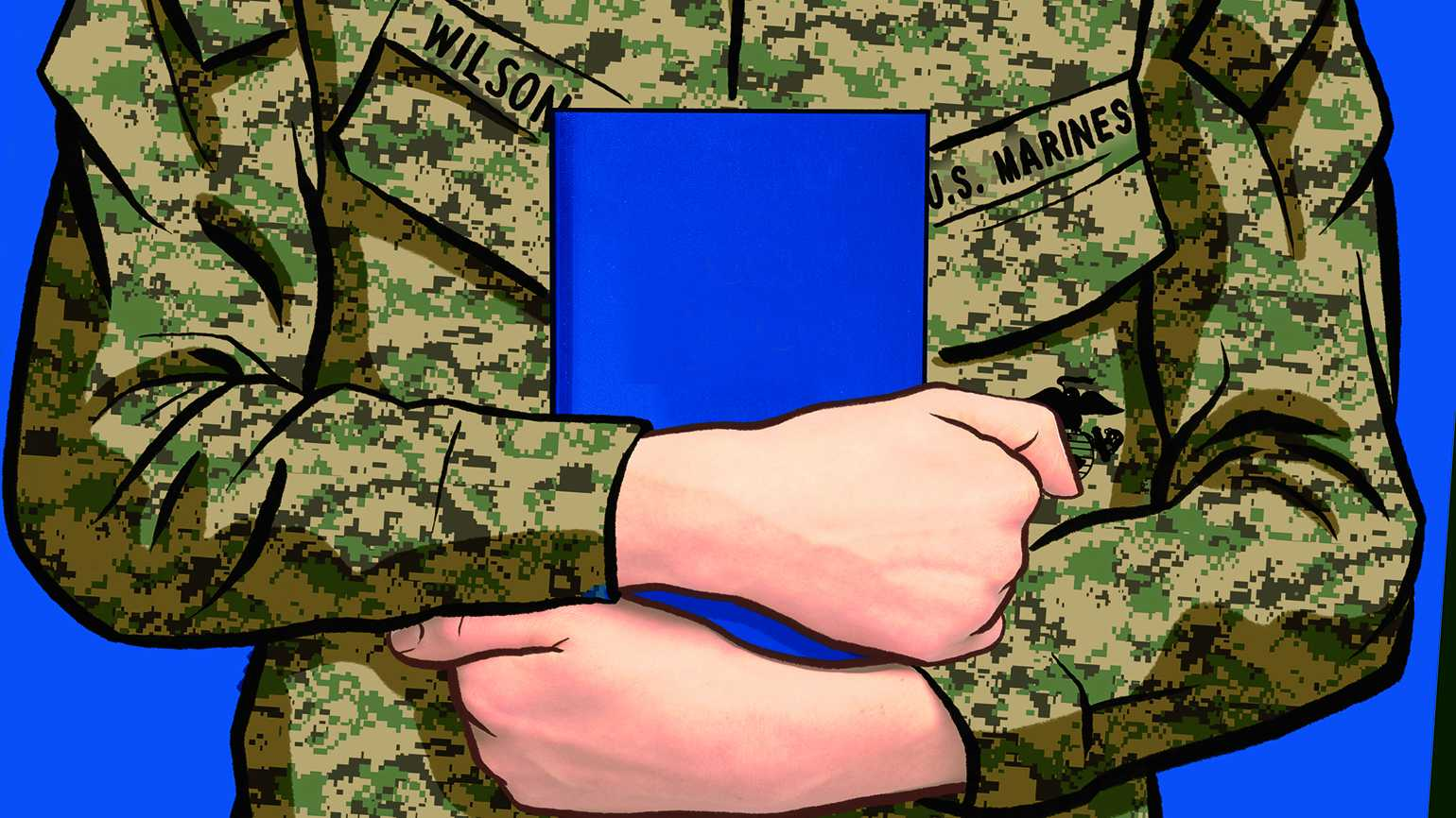 Illustration of a Marine soldier holding a Bible