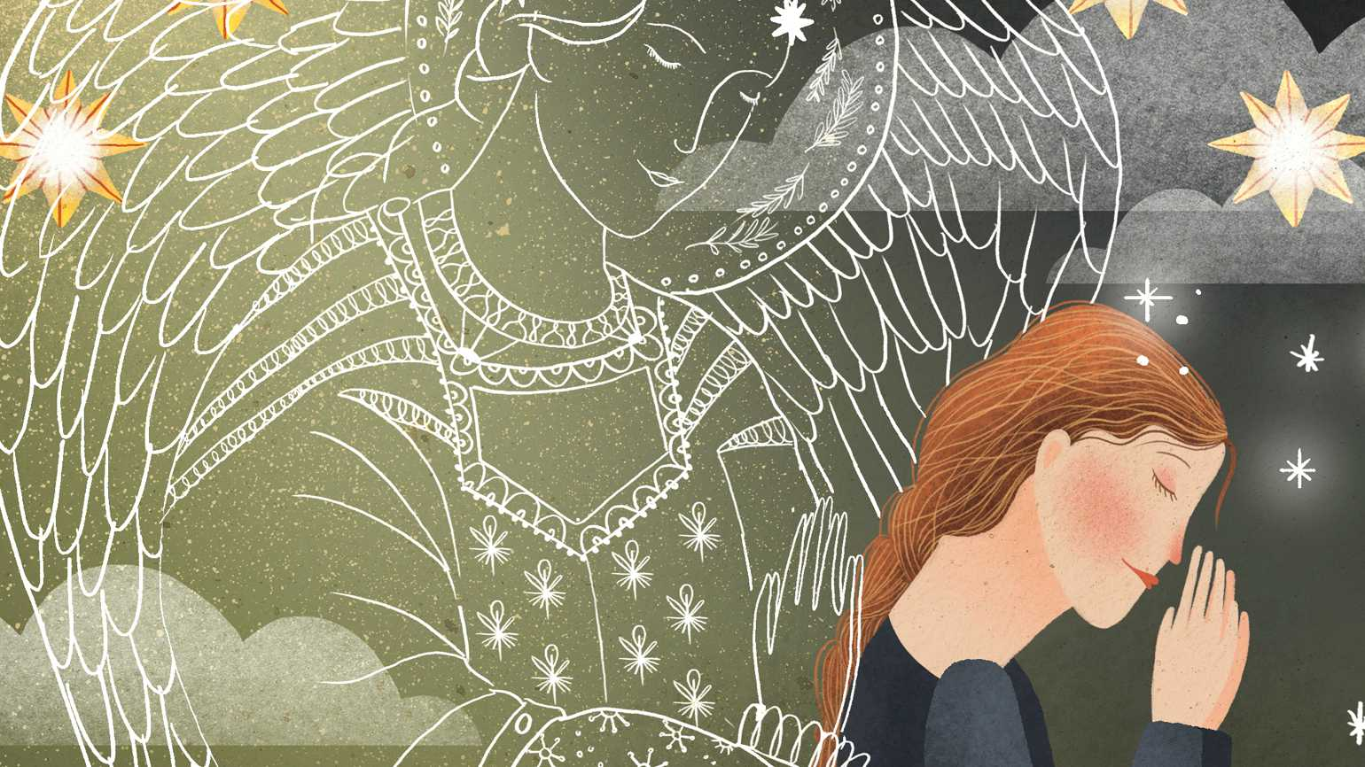 A woman praying as a angel hovers behind her; Illustration by Amalia Restrepo