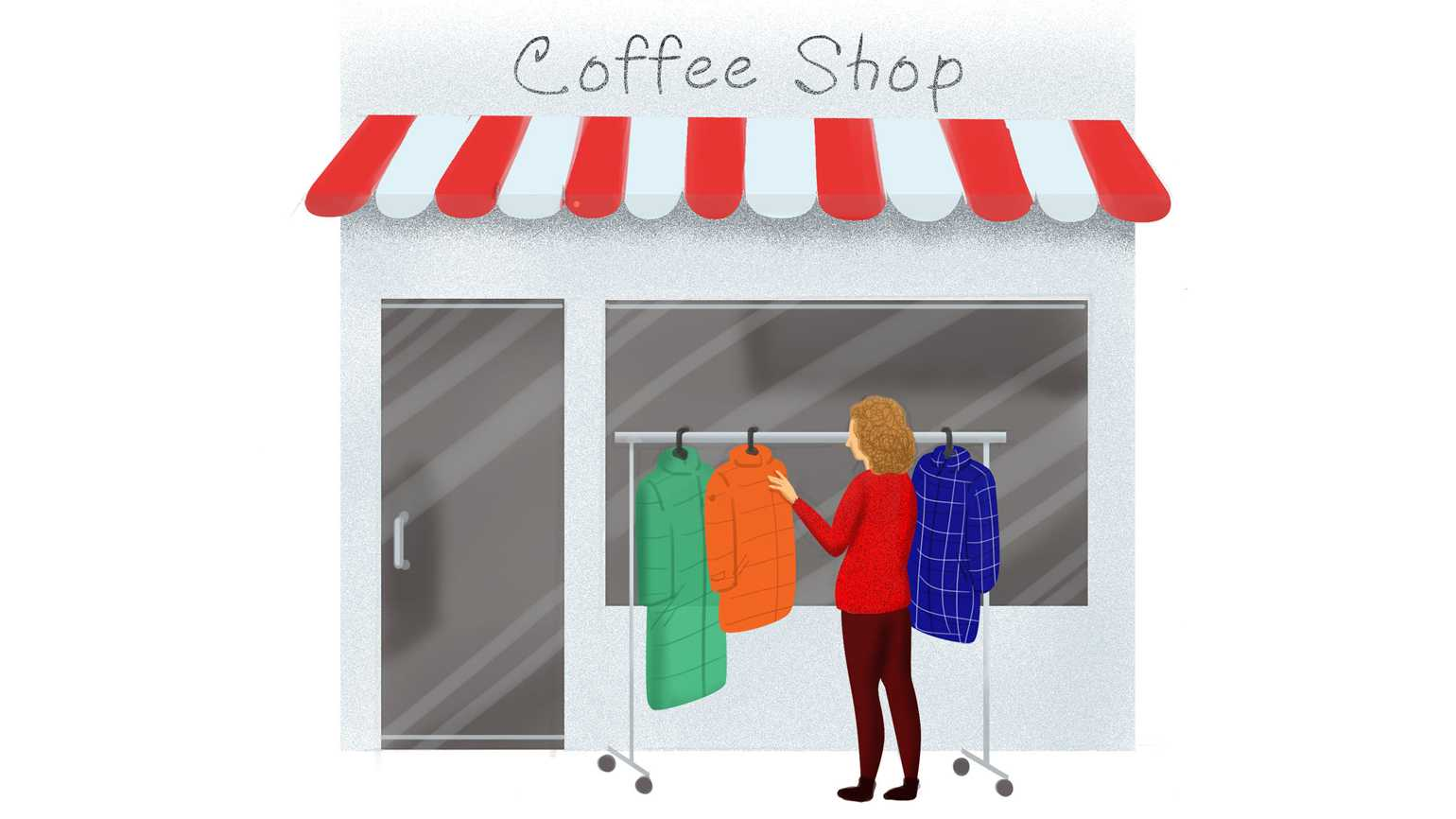 A woman browsing through a coatrack by a coffee shop.