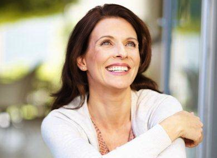 happy woman thinking positively