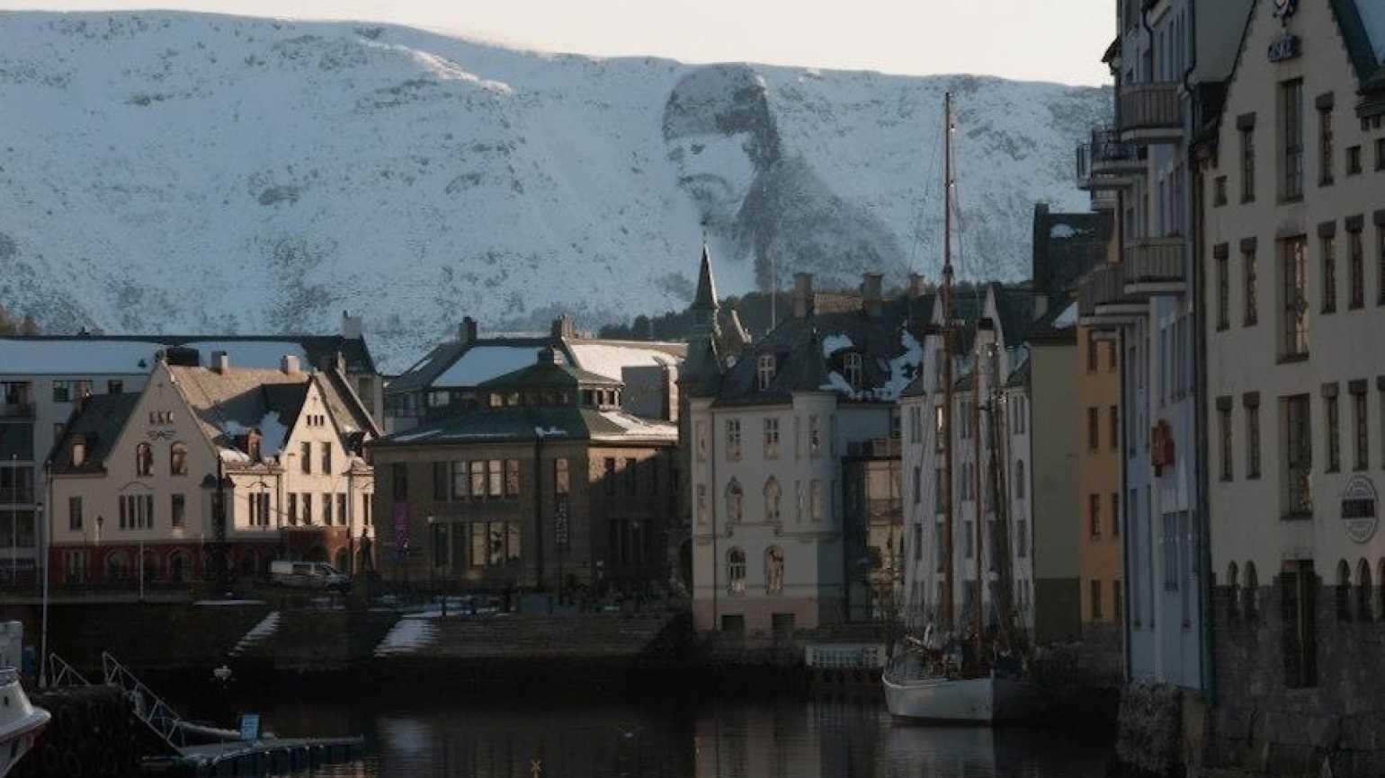 Sulamannen, the snow man who watches over the Norwegian port city of Ålesund.