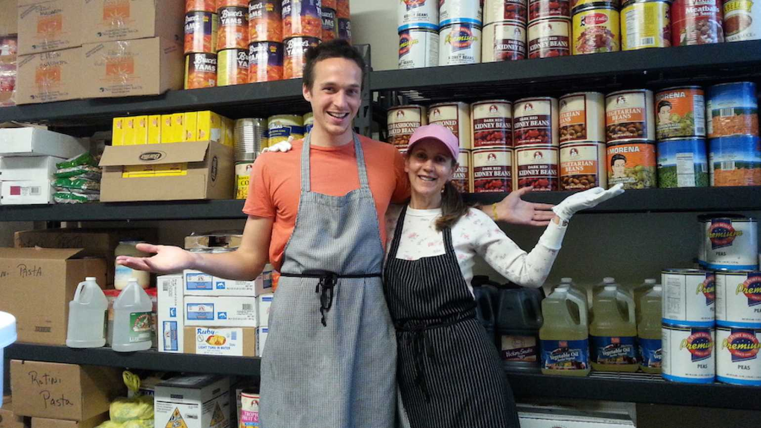 Rick's son Timothy and a soup kitchen volunteer.