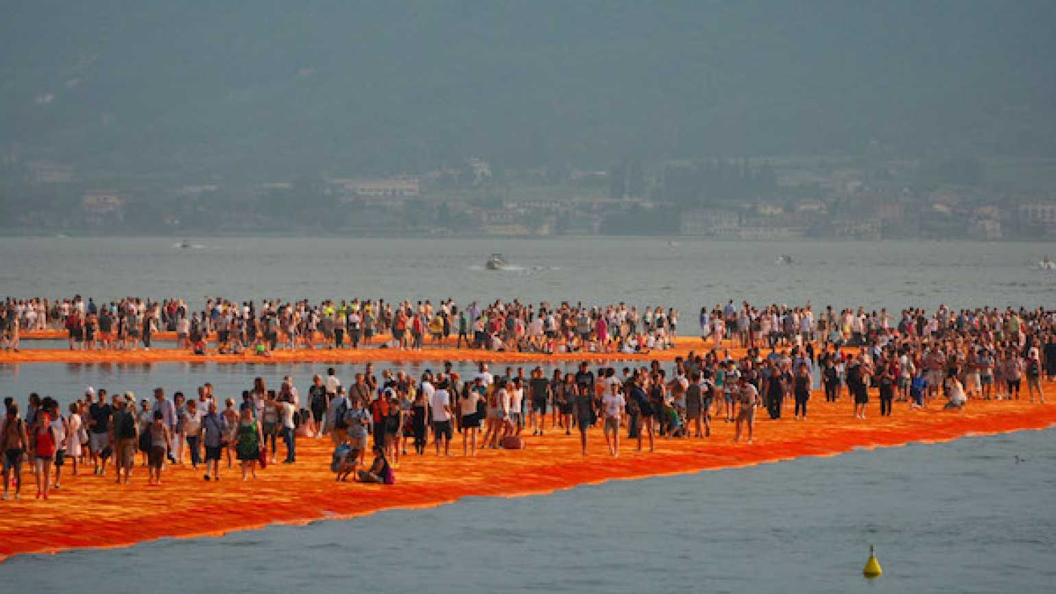 A view of the installation 'The Floating Piers' on the Iseo Lake by the Bulgarian artist Christo